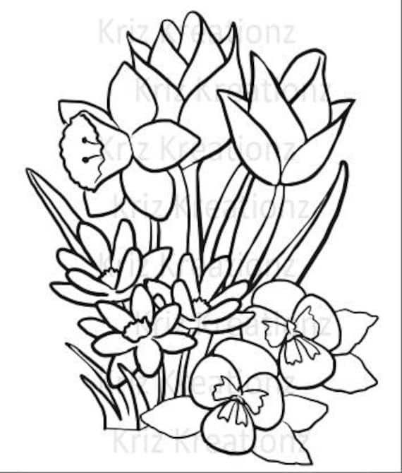 Spring Flowers Outline SVG Cut File
