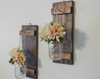 Set of 2 Hanging Mason Jar Sconces, Wall Decor, Farmhouse Decor, Mason Jar Decor, Mason Jar Wall Sconces, Rustic Home Decor
