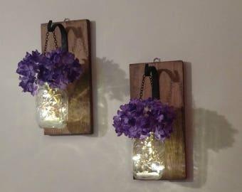 Hanging Mason Jar Wall Sconces, Mason Jar Wall Decor, Mason Jar Lights, Flower Vase, Farmhouse Decor, Set of 2, Mason Jar Decor, Hydrangeas