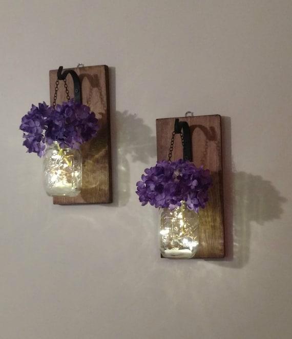 Stargaze Set Of 2 Hanging Mason Jar Pendant Lights By: Hanging Mason Jar Wall Sconces Mason Jar Wall Decor Mason
