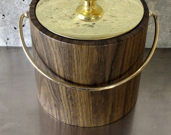 Vintage Ice/Champagne Bucket by Kraftware w/Vinyl Faux/Simulated Walnut/Wood Grain w/Brass Top & Handle Vintage Barware/Bar Tool/Mixology