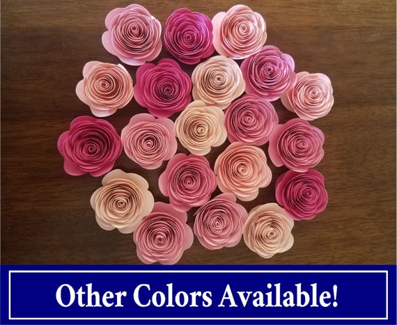 Pink paper flowers rolled paper flowers blush pink paper etsy image 0 mightylinksfo