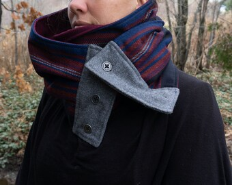 Reversible wool scarf made in Quebec, detachable twis scarf, winter scarf,Hot scarf,Unisex scarf,Mgarno,Made in Quebec