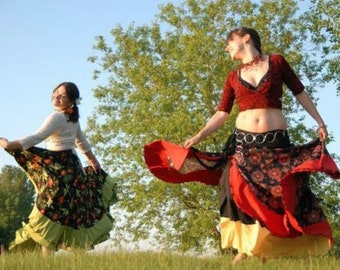 8a2b894924e Gypsy dance skirt, Flamenco skirt, Belly dance, Circular skirt, Flounced  skirt, Dance skirt, Tribal danse, Ethnic dance, Made in Canada