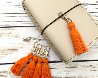 Pumpkin Orange Tiny Tassel Gold Keychain