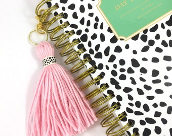 Blush Pink Spotty Dots Ribbon Trim Yarn Planner Tassel or Keychain
