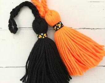 Candy Corn Dreams Tassel or Keychain Black or Neon Orange