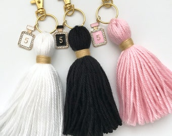 No. 5 Perfume Charm Tassel Gold Keychain *Choose Your Color*