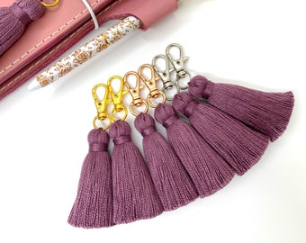 Plum Perfect Tiny Tassel Gold or Rose Gold or Silver Keychain