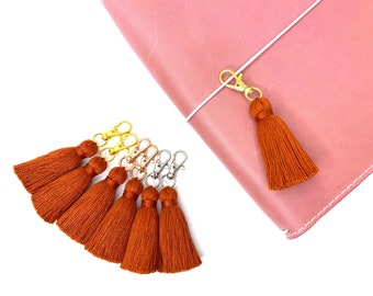 Pumpkin Spice Tiny Tassel Gold or Rose Gold or Silver Keychain