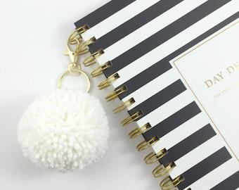 Soft White Large Pom Pom Keychain
