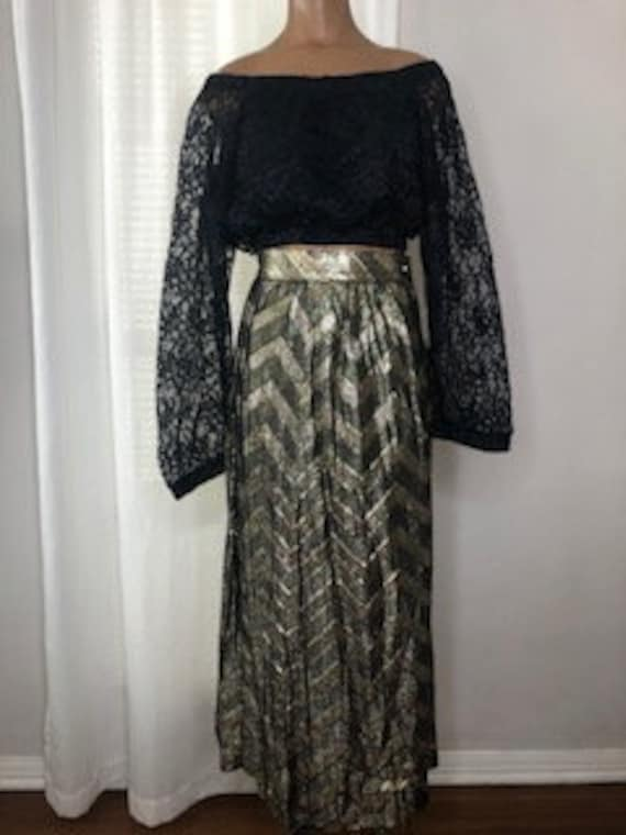 vtg METALLIC CHEVRON SKIRT