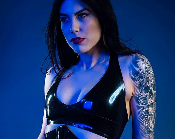 Halter Neck Latex Bra Top/Bralette