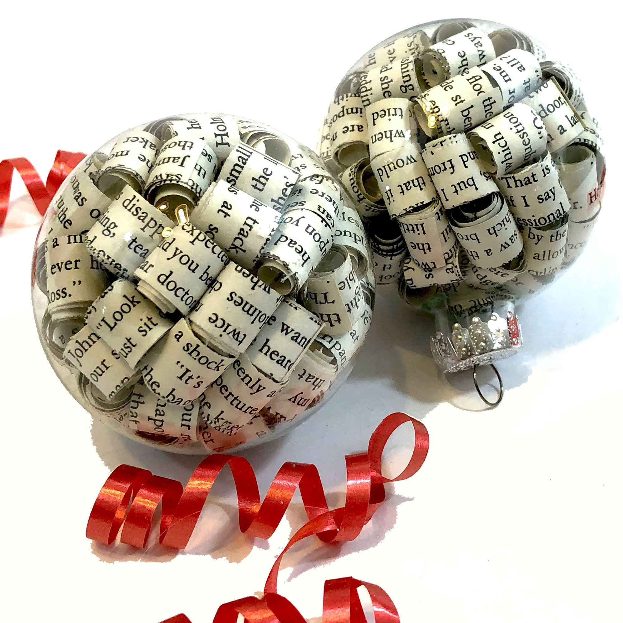 Sherlock Holmes Glass Ball Book Page Ornaments made from