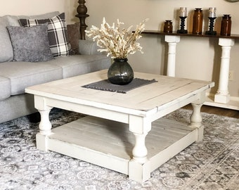 FREE SHIPPING ~ Distressed farmhouse coffee table, handmade, elegant, rustic, baluster solid wood, square, Ivory White (40x40)