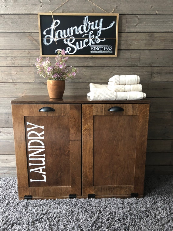 Free Ship Laundry Hamper Tilt Out Hamper Wood Laundry Etsy