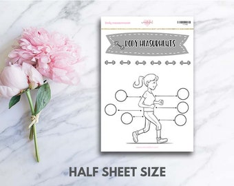 Body Measurements Stickers (perfect for bullet journals)