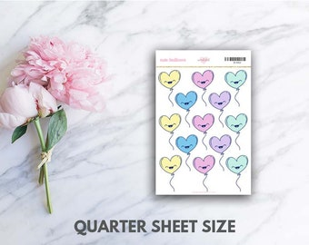 Pastel Heart Balloons Planner Stickers