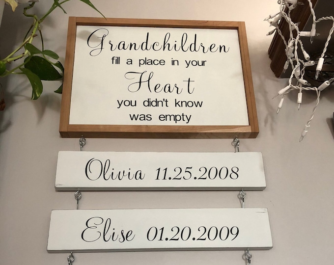 PAINTED 20x14/Grandchildren Fill a Place in your Heart/Grandparent Sign/Signs with Quotes/Custom Signs/Personalized Sign/Wall Signs