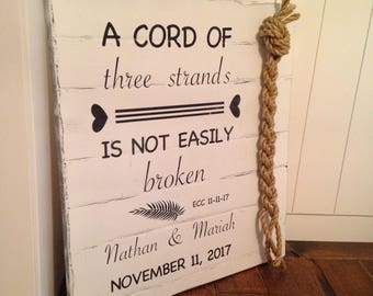 A Cord of Three Strands|ECC 4: 9-12|Wedding Sign Wood|Custom|Personalized|Wedding Decor|Wedding Ceremony|Country Decor|Rustic Decor