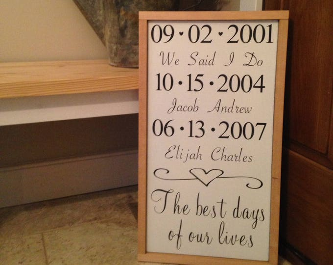 PAINTED 24x14/Best Days of Our Lives Sign/Custom Wood Sign/Signs with Quotes/Personalized/Sentimental Signs/Gift Idea/Sign for Home