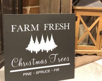 "PAINTED/Farm Fresh Christmas Trees/Christmas/Hand Painted/Wood Sign/Farmhouse Style/Rustic/Custom Sign/1/4"" Inlays"