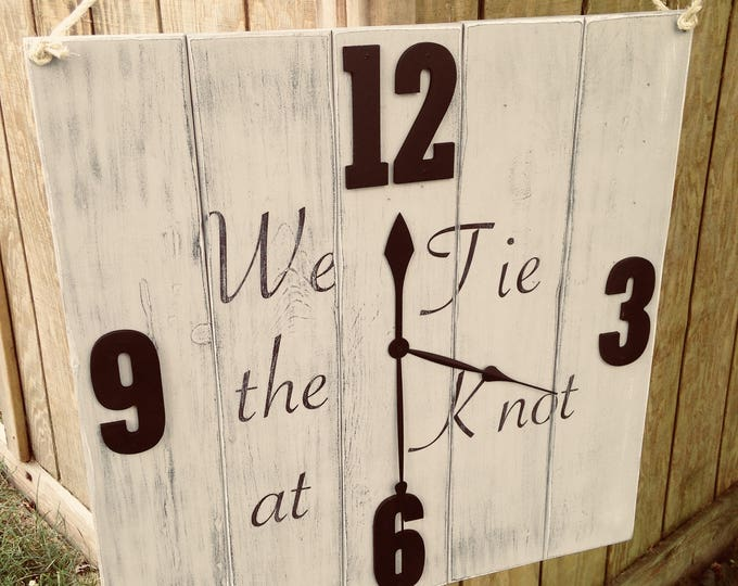 24x24/We Tie the Knot|Wedding Timeline Sign|Personalized Wedding Sign|Wedding Welcome Sign|Country Wedding|Wedding Clock|Rustic Wedding Sign