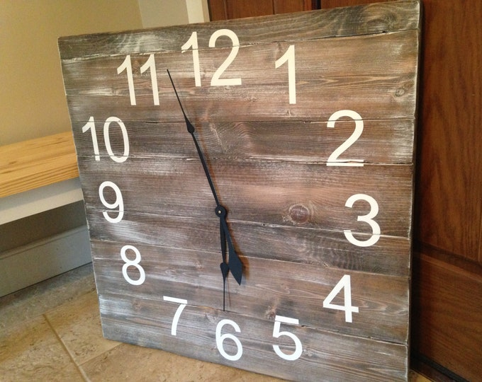 Barn Wood Clock/Large Clock/Shiplap Clock/Old Style Clock/Vintage Clock/Antique Clock/Industrial Clock/Farmhouse Clock/Clocks for Wall/Decor