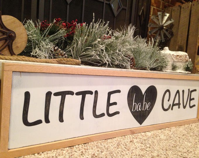 PAINTED 36x12/Little Babe Cave Sign/Nursery Decor/Nursery Art/Signs with Quotes/Baby Shower Gift/Custom Gift/Wood Sign/Baby's Room