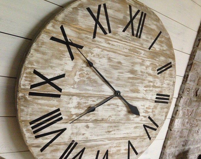 Whitewash Clock/Shiplap Clock/Rustic Clock/Farmhouse Clock/Roman Numeral Clock/Custom/Wall Clock/Big Clock/Chippy Paint Clock/Large Clock/