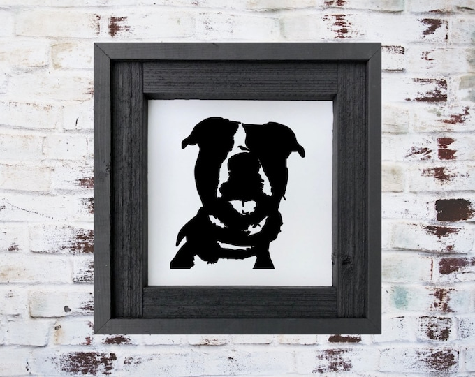 American Pit Bull Sign/Pet Portrait/Pit Bull Silhouette Sign/Personalized Sign/Dog Sign/Painted Wood Sign/Living Room Decor/Dog Room Sign