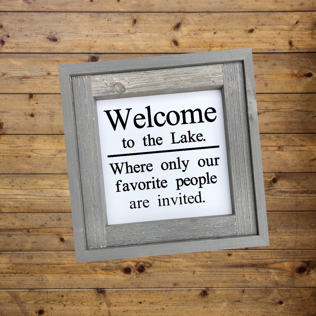 Welcome To The Lake Sign Rustic Country Farmhouse Home Decor
