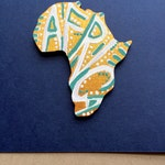 Africa Wooden Lapel Pin Hand Painted One-of-a-kind Lapel Pin  'Africa on Gold Design'