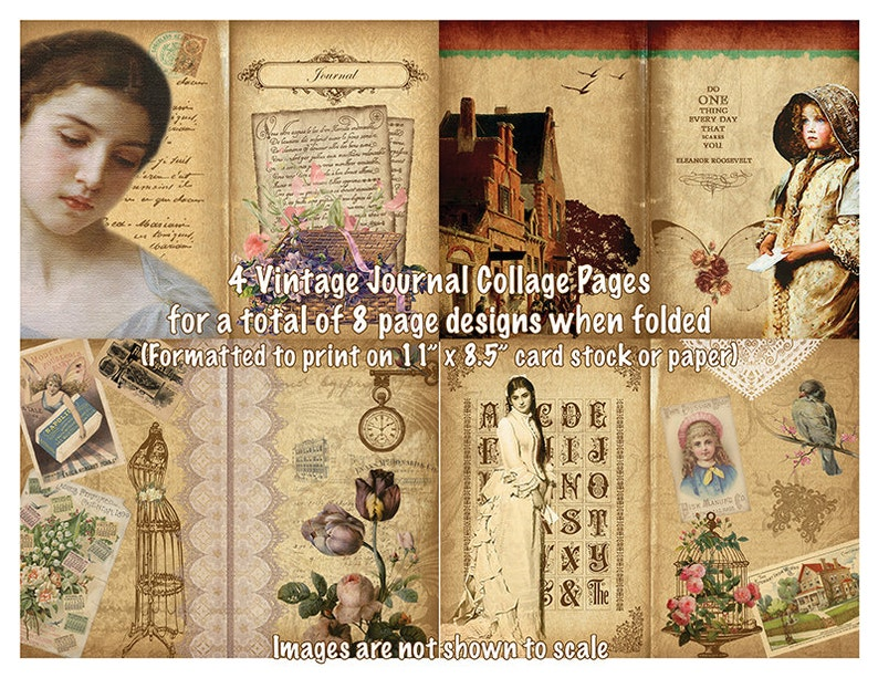 Original Vintage Journal Printable Download Kit  Group 1 image 0
