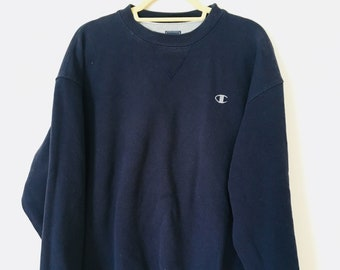 Classic Champion Crew Neck Sweatshirt Size Extra Large Crew Neck Sweater in Navy Blue