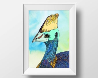 Cassowary Fine Art Print, Watercolour Painting, Australian, Australiana, Nursery, Whimsical, Home Decor, Drawing, Far North Queensland