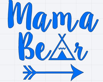 Mama Bear with Teepee and Arrow Decal Great for Car/Truck/Window/Mirror/Coffee Mug ***AVAILABLE IN 20 COLORS***