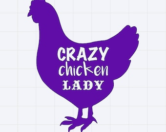 Crazy Chicken Lady Sticker/Decal Great for Car/Truck/Window/Mirror/Coffee Mug ***AVAILABLE IN 20 COLORS***