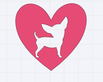 Chihuahua Heart Decal/Sticker Great for Tumbler/Car/Truck/Window/Mirror/Coffee Mug ***AVAILABLE IN 20 COLORS***