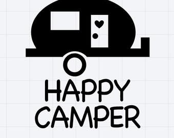 Happy Camper Decal/Sticker Great for Tumbler/Car/Truck/Window/Mirror/Coffee Mug ***AVAILABLE IN 20 COLORS***
