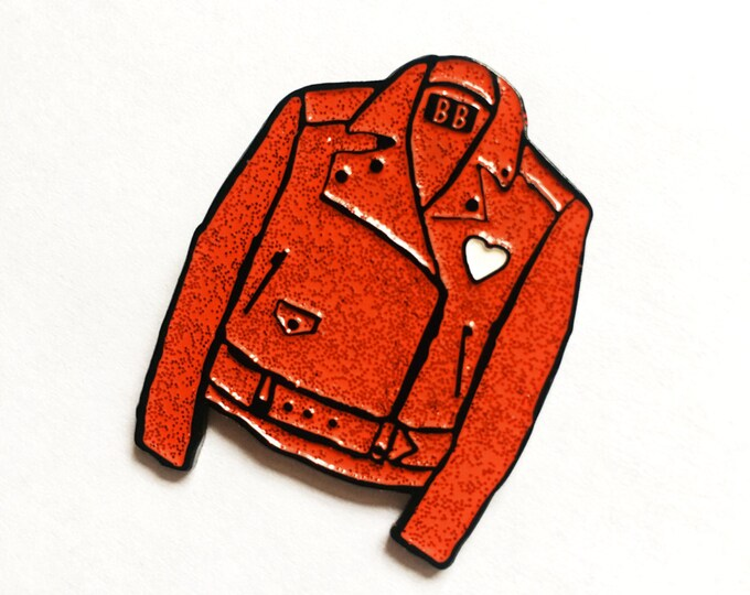 Red Glitter Leather Jacket Enamel Pin