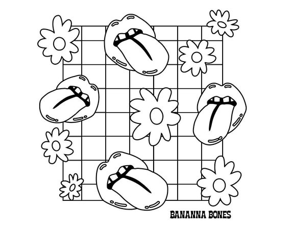 Daisies and Lips Coloring Page