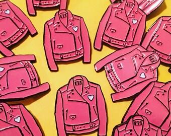 Pink Leather Jacket Enamel Pin