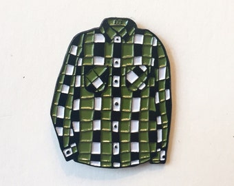 Green Flannel Enamel Pin