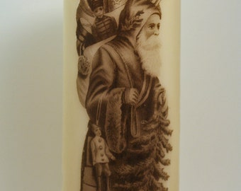 Classic Old Saint Nick Pillar Candle : Christmas Decor