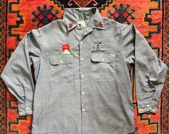 480ab89ab Vintage 1970s Big Mac Embroidered Chambray Long-Sleeve Shirt