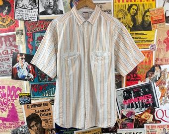 Sz Vintage SHAH SAFARI Blue Paisley 100/% Cotton Button Front Shirt Made in Nepal L