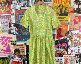Vintage Women's 1950s Green + Orange Floral Print Double Breasted A-Line Shirt House Dress