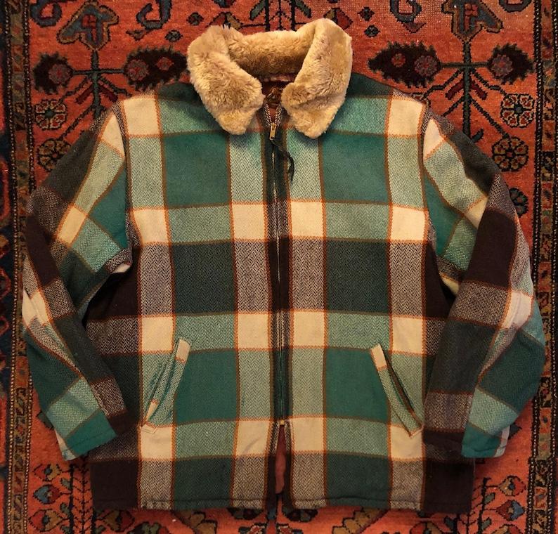 Vintage Men/'s 1950s Field Stream Wool Plaid Sportsman Hunting Jacket
