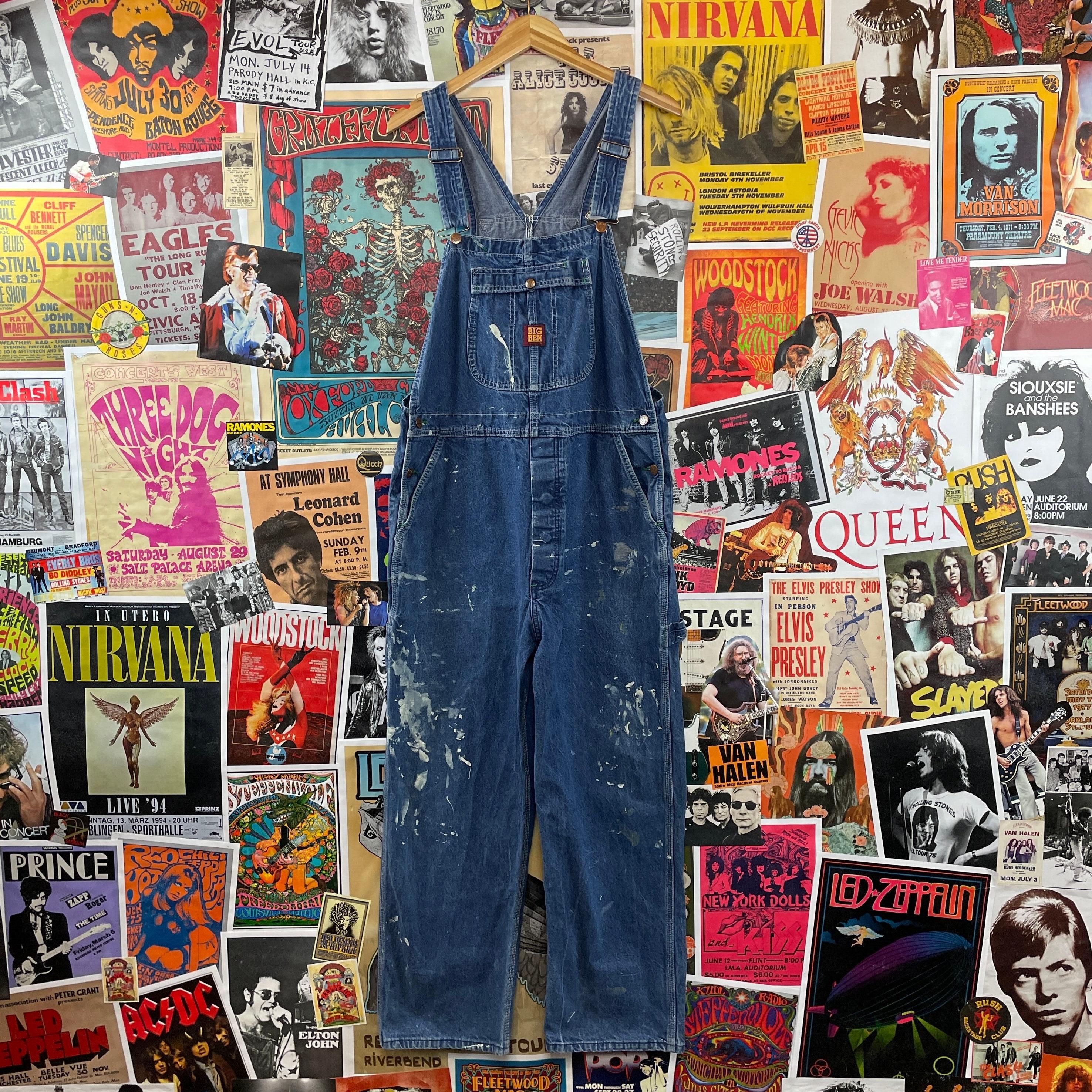 Vintage Overalls & Jumpsuits Vintage 1980S Big Ben Medium Wash 38W Painted Stained Denim Workwear Dungaree Overalls $0.00 AT vintagedancer.com